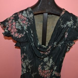 Vintage 1930's Bias Cut Floral Dress